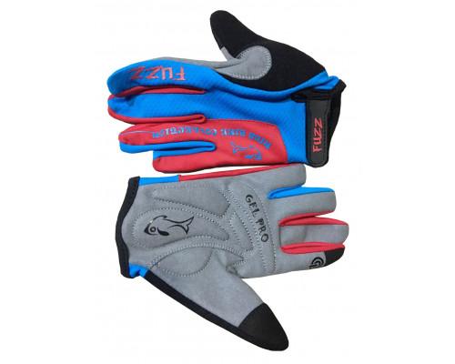 Перчатки 08-202124 детские с длинными пальцами лайкра PRO RACE сине-красные, размер 10/XL (для 8-10 лет), GEL PRO, на липучке FUZZ