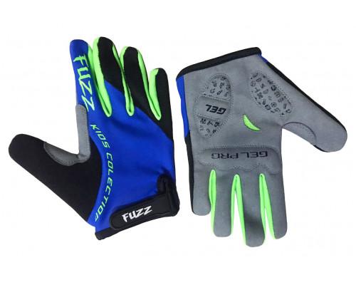 Перчатки 08-202134 детские с длинными пальцами лайкра PRO RACE сине-зеленые неон, размер 10/XL (для 8-10 лет), GEL PRO, на липучке FUZZ