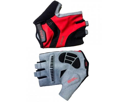 Перчатки 08-202254 лайкра RACE PRO черно-красные, размер L, с петельками, GEL, на липучке FUZZ