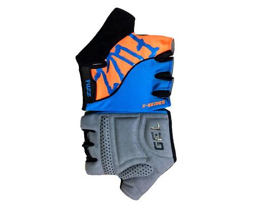 Перчатки 08-202281 лайкра X-SERIES голубой-оранжевый, размер XS, с петельками, GEL, на липучке FUZZ