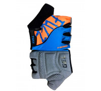 Перчатки 08-202285 лайкра X-SERIES голубой-оранжевый, размер XL, с петельками, GEL, на липучке FUZZ