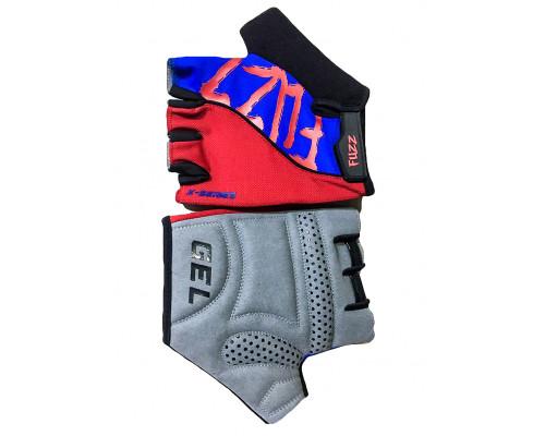 Перчатки 08-202292 лайкра X-SERIES красно-синие, размер S, с петельками, GEL, на липучке FUZZ