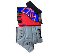 Перчатки 08-202293 лайкра X-SERIES красно-синие, размер M, с петельками, GEL, на липучке FUZZ
