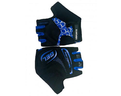 Перчатки 08-202403 лайкра SPORT RACE GEL черно-синие, размер M, с петельками, GEL, усиленные, на липучке USPORTS