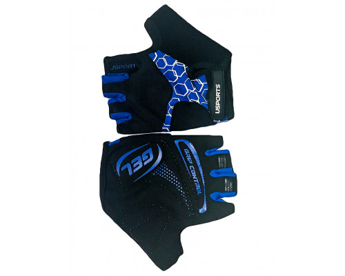 Перчатки 08-202405 лайкра SPORT RACE GEL черно-синие, размер XL, с петельками, GEL, усиленные, на липучке USPORTS