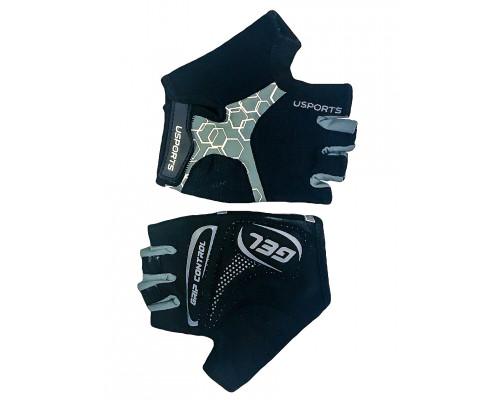 Перчатки 08-202414 лайкра SPORT RACE GEL черно-серые, размер L, с петельками, GEL, усиленные, на липучке USPORTS