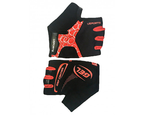 Перчатки 08-202424 лайкра SPORT RACE GEL черно-красные, размер L, с петельками, GEL, усиленные, на липучке USPORTS