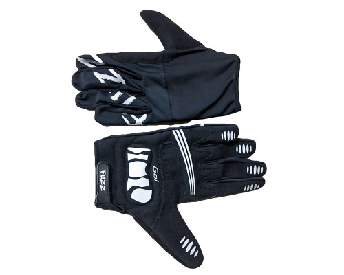 Перчатки 08-202702 лайкра, длинные пальцы, RACE LIGHT черные, размер S, для сенсорных экранов, GEL, на липучке FUZZ