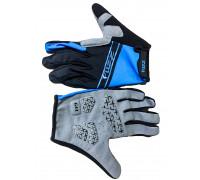 Перчатки 08-202712 лайкра, длинные пальцы, RACE LIGHT черно-синие, размер S, для сенсорных экранов, GEL, на липучке FUZZ
