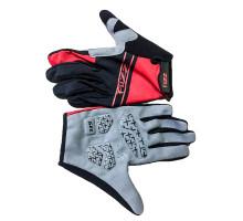 Перчатки 08-202723 лайкра, длинные пальцы, RACE LIGHT черно-красные, размер M, для сенсорных экранов, GEL, на липучке FUZZ