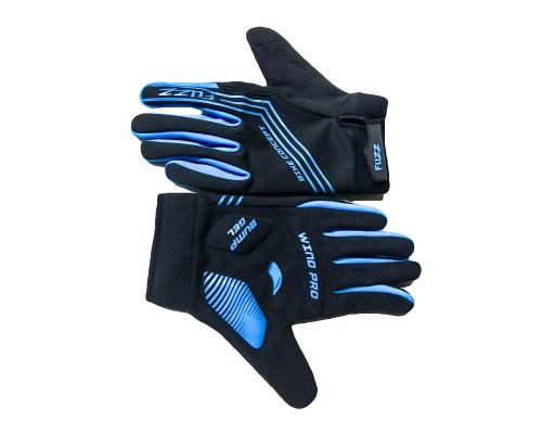 Перчатки 08-202814 неопреновые WIND PRO, черно-синие, утепленные, длинные пальцы, размер L, для сенсорных экранов, GEL, на липучке FUZZ