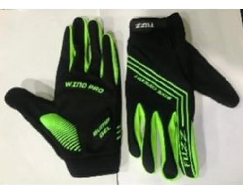 Перчатки 08-202821 неопреновые WIND PRO, черно-неон зеленые, утепленные, длинные пальцы, размер XS, для сенсорных экранов, GEL, на липучке FUZZ