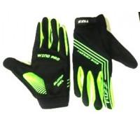 Перчатки 08-202822 неопреновые WIND PRO, черно-неон зеленые, утепленные, длинные пальцы, размер S, для сенсорных экранов, GEL, на липучке FUZZ