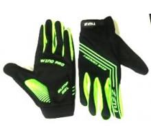 Перчатки 08-202823 неопреновые WIND PRO, черно-неон зеленые, утепленные, длинные пальцы, размер M, для сенсорных экранов, GEL, на липучке FUZZ