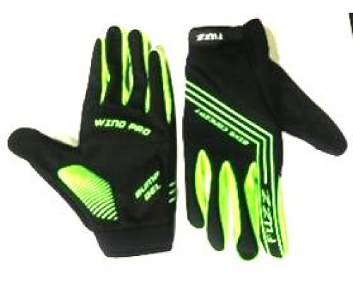 Перчатки 08-202824 неопреновые WIND PRO, черно-неон зеленые, утепленные, длинные пальцы, размер L, для сенсорных экранов, GEL, на липучке FUZZ
