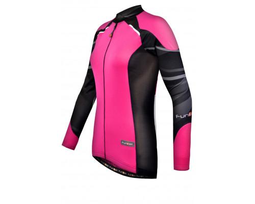 Велофутболка 12-787 женская Firenze с длинным рукавом JW-730-7-LW Pink Black Women Active LS Thermal черно-розовая размер S FUNKIER