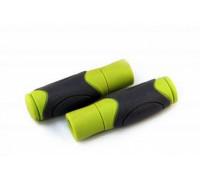 Ручки .С44 на руль 3-124 резиновые 125мм эргономичные 2-х комп. серо-зеленые CLARK`S
