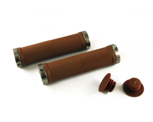 Ручки .CLO201 на руль 3-157 резиновые 130мм с 2 фиксаторами коричнево-серые анодированные CLARK`S