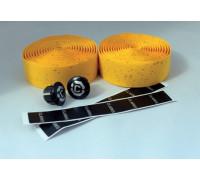 Лента на руль 3-159 CHBT корковая+крепеж+заглушки на руль желтая CLARK`S