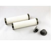 Ручки .CLO201 на руль 3-227 резиновые 130мм с 2 фиксаторами бело-зеленые анодированные CLARK`S