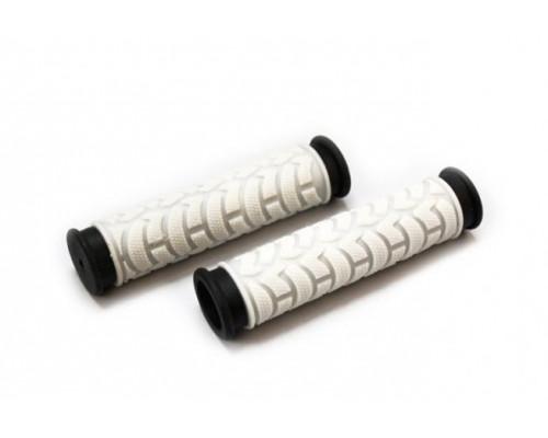 Ручки .С49WB на руль 3-232 резиновые 125мм 2-х компонентные бело-черные CLARK`S