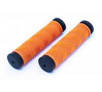 Ручки .С127 на руль 3-462 резиновые 130мм антисокльз. оранжево-черные CLARK`S