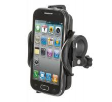 Держатель для смартфона 5-122405 пластиковом 110-126х55-72х11мм вращающееся крепление на руль черный M-WAVE