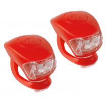 Фонарики 5-220633 COBRA IV передний 2диода/3функции +задний2диода/3функции 24г с батарейками красный корпус M-WAVE