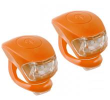 Фонарики 5-220637 COBRA IV передний 2диода/3функции +задний2диода/3функции 24г с батарейками оранжевый корпус M-WAVE