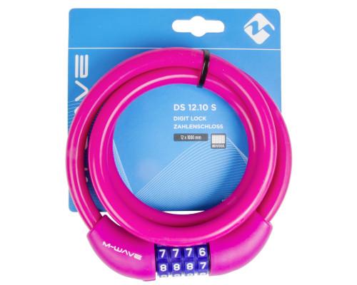 Замок 5-231068 вело кодовый (4 разряда) 12х1000мм автоматический силиконовый розовый M-WAVE