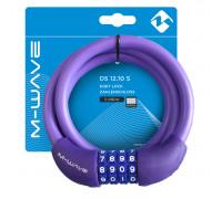 Замок 5-231069 вело кодовый (4 разряда) 12х1000мм автоматический силиконовый фиолетовый M-WAVE