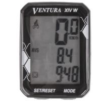Велокомпьютер 5-244361 беспроводной 14 функций 3-х строчный дисплей, влагозащитный, столик с изменяемым углом наклона, черный VENTURA XIV W