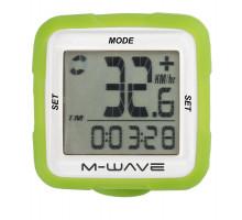 Велокомпьютер 5-244716 14 функций беспроводной силиконовый сменный корпус зеленый M-WAVE