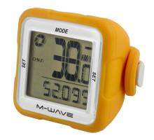 Велокомпьютер 5-244718 14 функций беспроводной силиконовый сменный корпус оранжевый M-WAVE