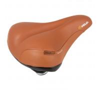 Седло 5-250130 комфортное 264х220мм натуральная кожа, эластомер. D2, Air-Tech, закрытые пружин. коричневый (на блистере) VELO ELASTOMER