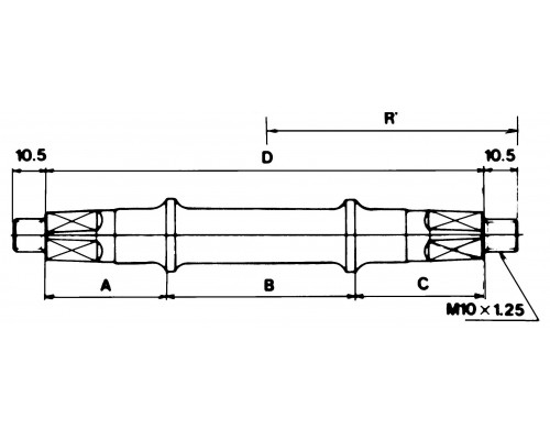 Каретка/вал 5-263206 с гайками 121,5мм для резьбы BSA 68мм