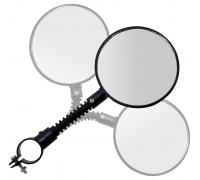 Зеркало 5-270002 круглыми 3 степени свободы плоское 84мм стекло черное кольцевое крепление