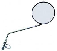 Зеркало 5-270908 вело/скутер/мопед антиблик. плосокое круглое D=105мм кольцевое крепление серебристый