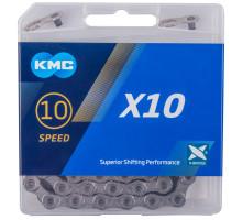 Цепь 5-303572 (5-300868) 1/2″х11/128″ 114 звеньев Х-10 Grey с замком в коробке 10 скоростная в пластиковые коробке серая KMC