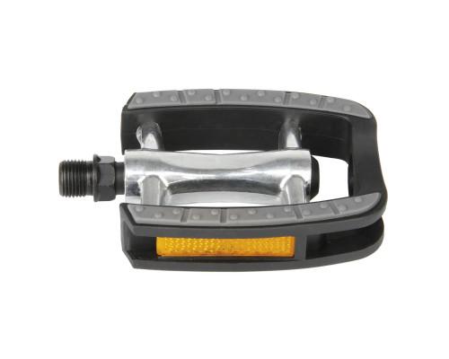 Педали 5-311040 алюминиевыес пластиковые ободом, с антискользящими резиновым покрытием c герметичными промподшипниками 80*95мм, серебристый-черные (на блистере) STEADY C M-WAVE