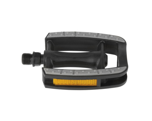 Педали 5-311041 пластиковые с пластиковые ободом, с антискользящими резиновым покрытием c шарикоподшипниками 80*95мм, серебристый-черные (на блистере) M-WAVE