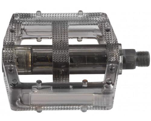 Педали 5-311380 поликарбонат. BMX широкие ось Cr-Mo черные полупрозрачные M-WAVE