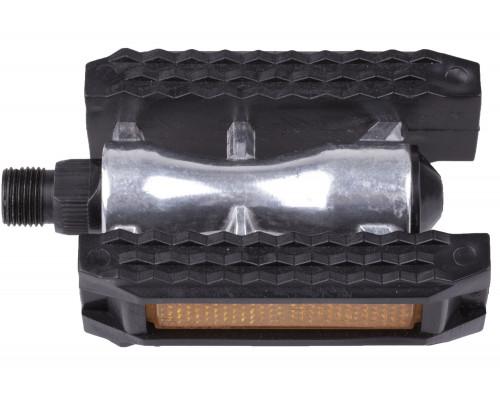 Педали 5-312136 алюминиевые с резиновым ободом герметичная ось, с отражателями, серебристо-черные