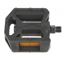Педали 5-313311 пластиковые BMX широкие с шарикоподшипниками резьба 1/2″ с отражателями черные