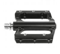 Педали 5-313315 алюминиевые литые широкие 105*94*21мм герм. ось Cr-Mo со сменными шипами, 398г, черные M-WAVE