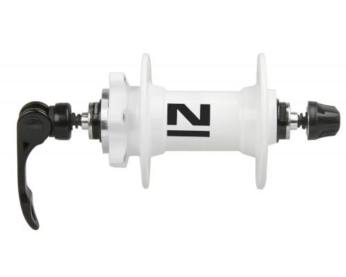 Втулка 5-326100 алюминиевая передняя 32 отверстия для для дискового тормоза 2 картриджные подшипника 216г. с эксцентриком белая NOVATEС