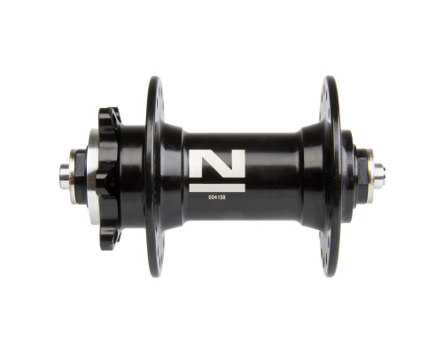Втулка 5-326222 алюминиевая передняя 32 отверстия для для дискового тормоза 2 картриджные подшипника 216г. без эксцентрика черная NOVATEС