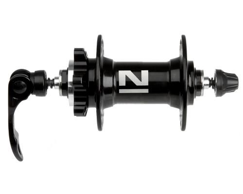 Втулка 5-326320 алюминиевая передняя 36 отверстий для для дискового тормоза 2 картриджные подшипника 216г. с эксцентриком черная NOVATEС