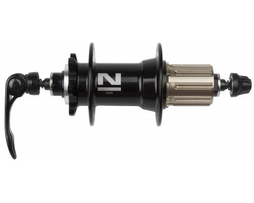 Втулка 5-326321 алюминиевая задняя 36 отверстий для для дискового тормоза 8/9 скоростей 4 картриджные подшипника 492г. с эксцентриком черная NOVATEС