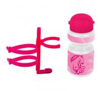 Фляга 5-340212 детская пластиковая 0,3л розовая ″лошадка″+держатель пластик с универсальным креплением VENTURA KIDS